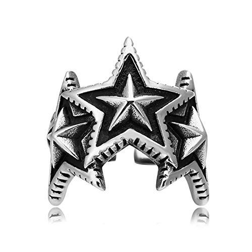 Epinki Bague Acier Inoxydable pour Homme Open Three Pentagram Étoile Argent Noir Bague Gothique Biker Punk Taille 66.5