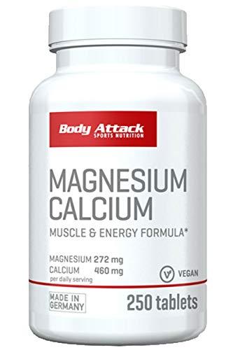 Body Attack vegane Magnesium+Calcium Tabletten - hochdosiert - 440mg Calcium und 264mg Magnesium - 250 Kapseln (1)