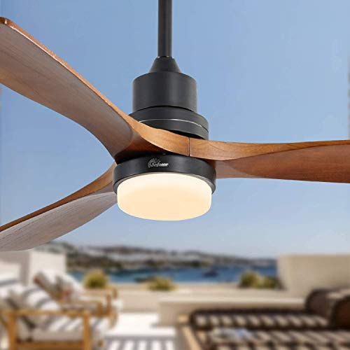 Sofucor 52-Inch Wood Ceiling Fan With LED Lights and Remote - Adjustable Speeds, Reversible 65W Quiter Motor 5250 CFM for Living room, Bedroom, patio - Matte Black