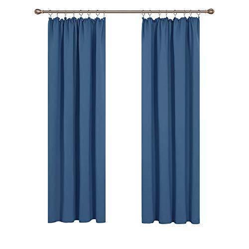 Deconovo Verdunkelungsgardinen mit Kräuselband Blickdichte Vorhänge Wohnzimmer 200x140 cm Blau 2er Set