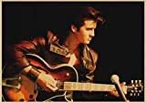 HUYUEXIN Póster De Lienzo Elvis Presley Papel Vintage Póster Retro Rock and Roll Música Posters Decoración De La Habitación Vintage Etiqueta De La Pared 50 * 70 Cm Relación Calidad-Precio Sin Marco