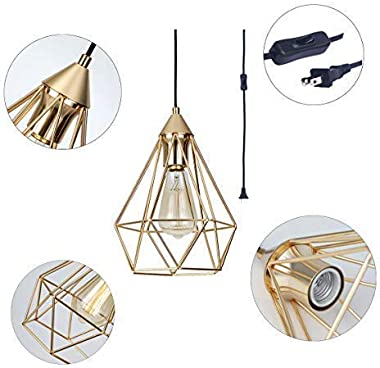 SEEBLEN Plug in Pendant Light Gold Hanging Light Fixture with 15 Ft Plug in Cord On/Off Switch Vintage Metal Cage Pendant Light Fixtures