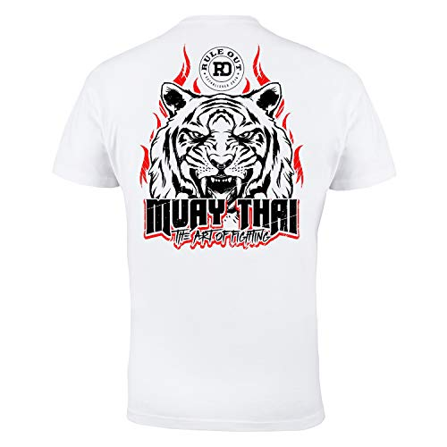 Regla Fuera Camiseta Ropa de lucha. Muay Thai The Art of fighting. Gimnasio Entrenamiento MMA Informal Desgaste - Blanco, XX-Large