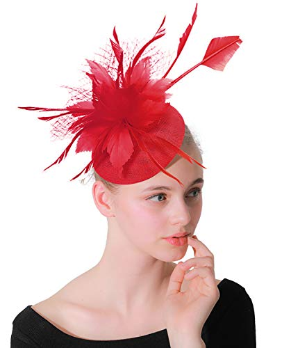 Z&X Sinamay Fascinator Fascinator Clip Fancy Feather Floreale Pillbox Cappelli per donne Tea Party Wedding -  Rosso -  Taglia unica