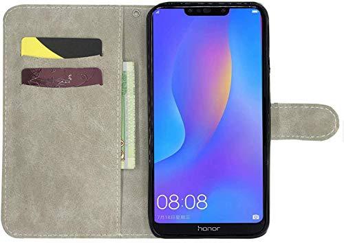 HMTECH Huawei Y6 2019 Hülle,Huawei Y6 2019 Handyhülle 3D Diamate Glitzer Lila Blume Flip Case PU Leder Cover Magnet Schutzhülle Tasche Ständer Handytasche für Huawei Y6 2019,Diamond Purple Flower