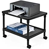 Tangkula Printer Stand, 2-Tier Under-Desk Printer Cart w/Ample Storage Space, Smooth Wheels w/Locking System, Sturdy Metal Frame, Adjustable Heights, Perfect for Office Living Room Kitchen