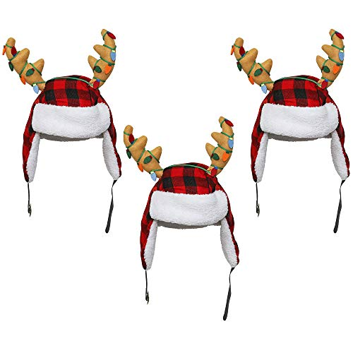 3-Pack 17-Inch Plush Hat with Sherpa Ear Flaps and Antlers with Christmas Lights Red, Black