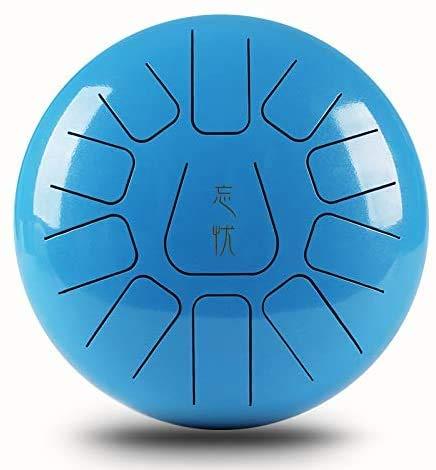 L.BAN 10 Pulgadas Tambor de Lengüetas Acero Tongue Drum Instrumento de percusión de 11 Tonos con Palillos de Tambor Bolsa de Transporte Stick Note Sticks para meditación Yoga sanación Sonora