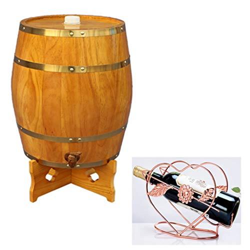 Eichenfass Eichen Fass für Whisky oder Wein 5L Eichenfässer, Wein Eichenfässer für die Weinbereitung oder Lagerung Whiskey Bier Cocktails Weißwein  Tequila  (Gelb) Vintage Holz Eichenholz Bierfass a
