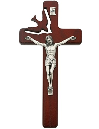 All Patron Saints Holy Spirit Cherry Wood Crucifix Wall Cross with Silver Color Corpus 8 Inch