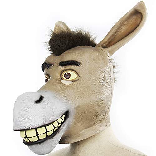 EnergyPower ハロウィン・パーティー用マスク ロバ 馬 ドンキー 超リアルフルフェイスマスク かわいいです! 爆笑 ファンシー アニマル サファリパーク びっくり 動物 ウィッグ お面 仮面 かぶりもの cosplay 変身 変装 Hallowe