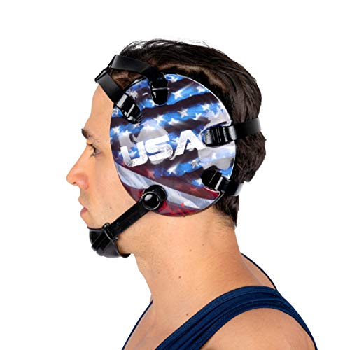 4 Time All American Wrestling Headgear for Men, Women, and Youth, MMA, Sparring, Boxing, and Wrestling Mat Ear Wrap Gear/Supplies, Exercise Equipment (USA Eagle)
