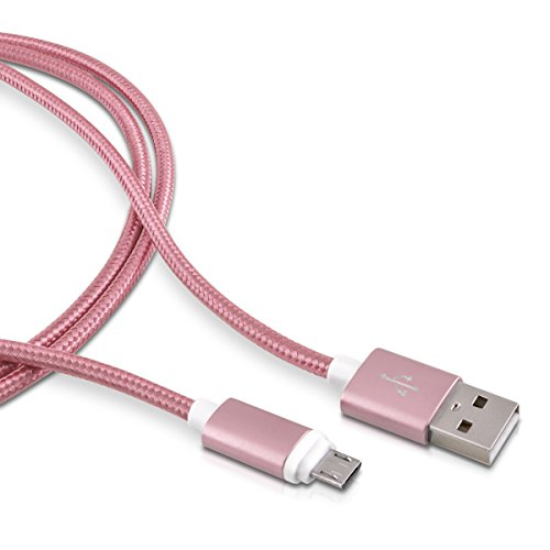 kwmobile Nylon Micro USB Kabel - Universell einsetzbares Handy Datenkabel Ladekabel 2m Pink - geeignet für z.B. Samsung Galaxy Sony Experia