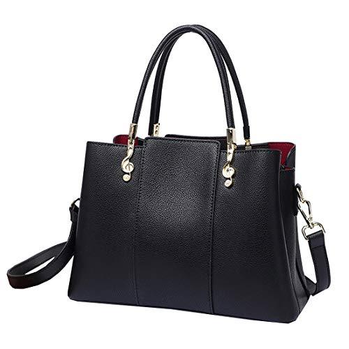 Iswee Leather Womens Handbags Tote Bag Top Handle Bags Shoulder Handbag Ladies Purse Crossbody Bag (Black)