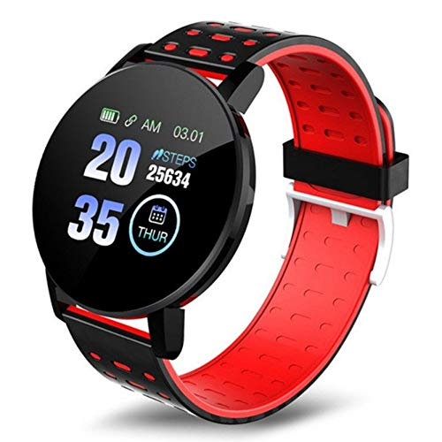 """Reloj Inteligente, 1.3"""" Pantalla Táctil Smartwatch Hombres Mujeres, los Rastreadores De Fitness con Monitor De Ritmo Cardíaco, IP67 Reloj Podómetro Reloj Inteligente para iOS Android,Rojo"""