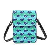 Petit sac à bandoulière, motif baleines, vagues de mer, mammifères, bleu, vert, sac à main, sac à main, sac à bandoulière léger pour femme et fille