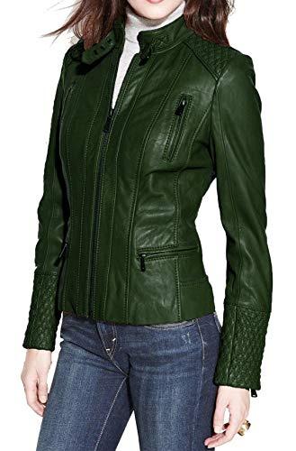 Chaqueta de cuero para mujer estilo clásico motorista chaqueta de cuero real para mujer - verde - Small