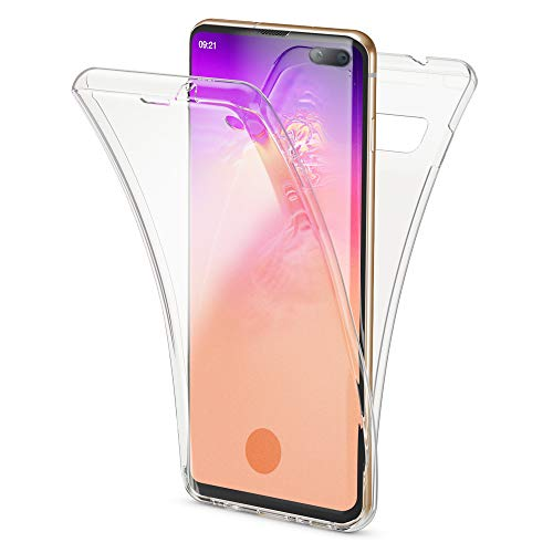 NALIA 360 Grad Hülle kompatibel mit Samsung Galaxy S10 Plus, Full Cover vorne hinten R&um Doppel-Schutz Handyhülle Dünn Ganzkörper Hülle Silikon, Durchsichtig Bildschirmschutz Rückseite - Transparent
