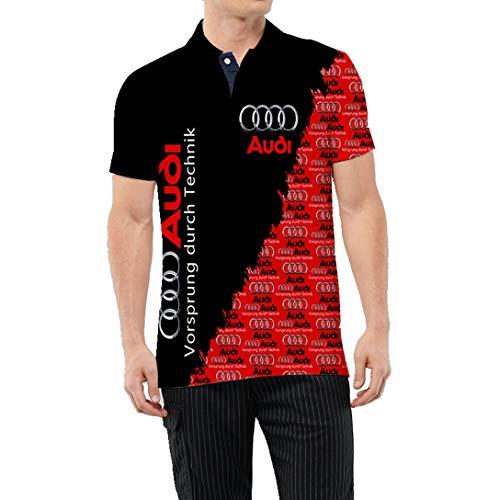 Camiseta De Verano para Hombre 3D Digital Audi Logo Impreso Polo Camisa Manga Corta Solapa Casual Top (1,S)