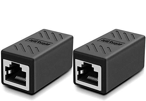 Lot de 2 Coupleur RJ45 Ethernet Connecteur Réseau Adaptateur Femelle à Femelle Blindé 8P8C pour rallonge de câble Ethernet Cat6/Cat5e femelle Noir