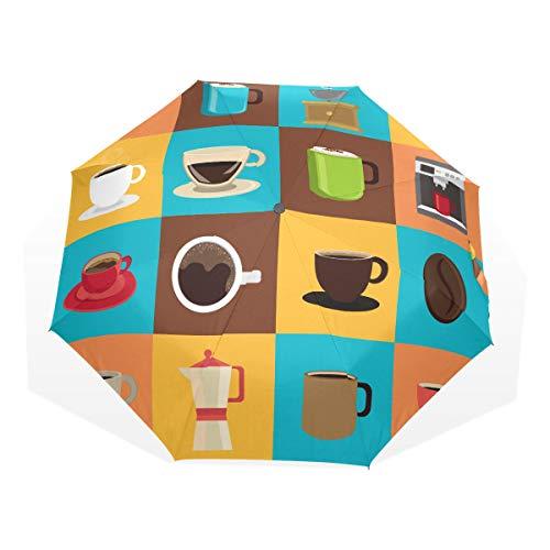 Sun Umbrella Design Cold Winter Drink Warm Cup Coffee 3 Fold Art Umbrellas(outside Printing) Large Sun Umbrella Travel Umbrella Rain Best Sun Umbrella