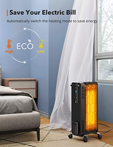 Space Heater, TaoTronics 1500W Oil Filled Radiator Heaters with 3 Heating Mode, 24-Hrs Timer for Auto-On & Off, Remote Control, Tip-over Protection Electric Portable Heater for Indoor Use Home Office