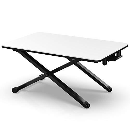 Fenge Sitz-Steh-Schreibtisch weiß Aufsatz Höhenverstellbare ergonomische Büro Workstation für PC Computer Bildschirm Laptop L65xW40xH(6-40) cm SD255003WW