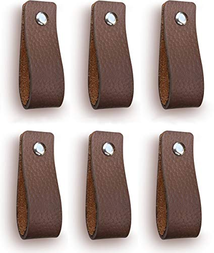 Tiradores de Cuero | Gris Pardo / 6 piezas | 16,5 x 2,5 cm | Piel de Granos | 3 tornillos de color - tiradores para Accesorio de Mobilario, armario, cajón, puerta