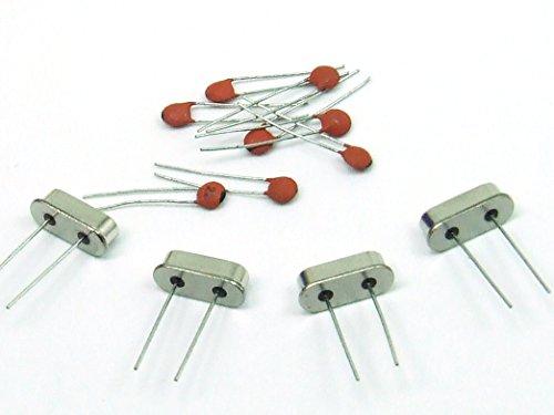 POPESQ® - KIT: 4 Stk./pcs. Quarz / Quartz Crystal 8 Mhz +8 Stk./pcs. Keramik Kondensator / Capacitor ceramic 22pF Arduino, MCU Mikroprozessor #A51