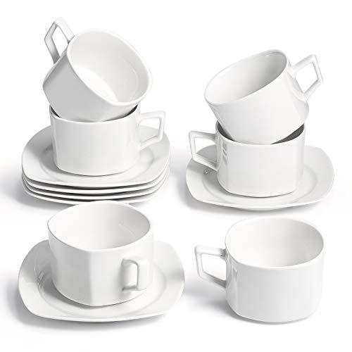 Sunting Kaffeetassen Set CremeWeiß Eckig Espressotassen Set mit 6 Porzellan Kaffeetassen (200 ml) und 6 Untertassen. Neues Bone China Weiß Cappuccino Tassen Set. Modern Kaffeeservice für 6 Personen