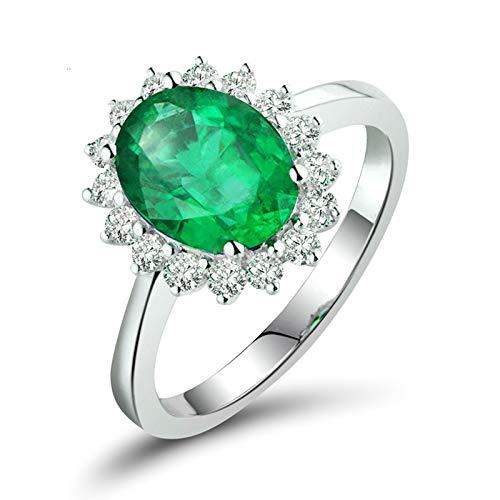 Daesar Anillos Oro Blanco Mujer 18K,Oval Flor Esmeralda Verde 0.8ct Diamante 0.16ct,Plata Verde Talla 21