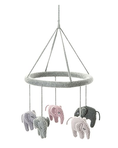 Smallstuff - Strick-Mobile - Elefanten - blau, rosa - Baumwolle - gestrickt - Ø23 cm