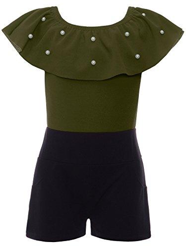 BEZLIT BEZLIT Jumpsuit Mädchen Overall Onesie Schulterfrei Einteiler 22688 Olivegrün Größe 104