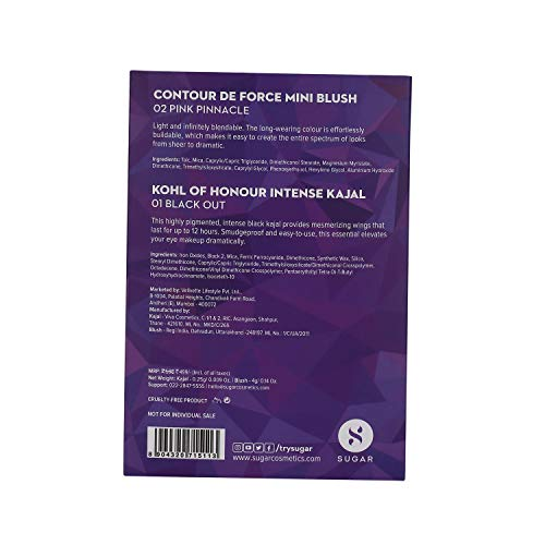 SUGAR Cosmetics Kohl Of Honour Intense Kajal, 01 Black Out (Black)+Sugar Cosmetics Contour De Force Mini Blush - 02 Pink Pinnacle (Deep Rose), Multicolor, 5 g (Pack of 2)