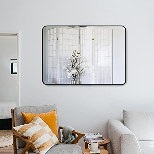 Muzilife Rechteckig Spiegel Badzimmer 70 x 50 cm mit Schwarz Metal Rahmen und Haken Großer Wandspiegel Auch als Hängespiegel Dressing-Eingangsspiegel für die Garderobe oder Hotel