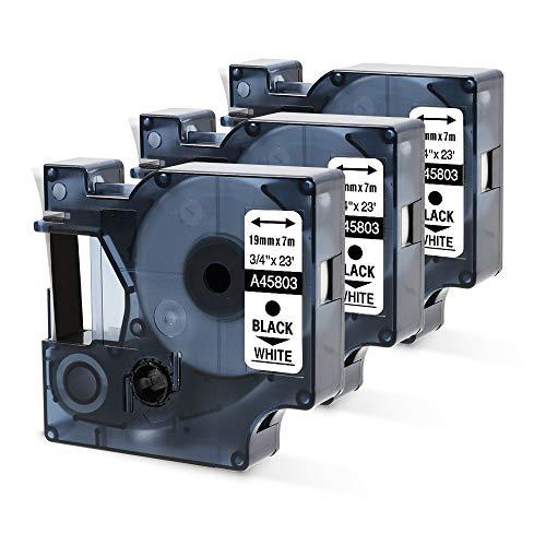 Nastri Oozmas Compatibile In sostituzione di Dymo 45803 19mm x 7m, Compatibile Dymo LabelManager 360D 420P 450D 500TS, (Bianco su Nero, confezione da 3)