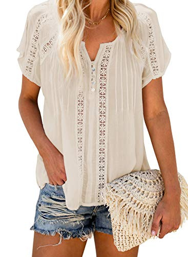Biucly Womens Summer Casual Button-Down Shirts V Neck Lace Crochet Eyelet Short Sleeve Blouses Cute Boho Tops for Women Fashion,US 4-6(S),Apricot
