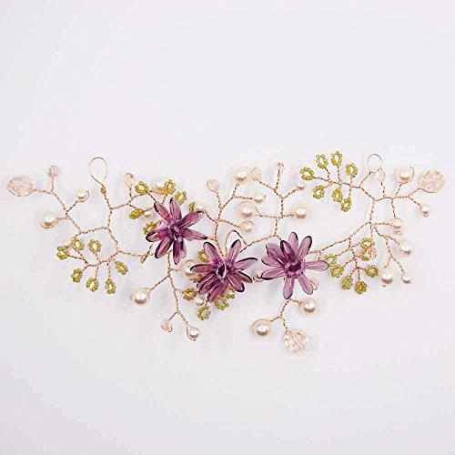 Bruid haaraccessoires met glazen bloemen en Swarovski paars La Bottega Liventina