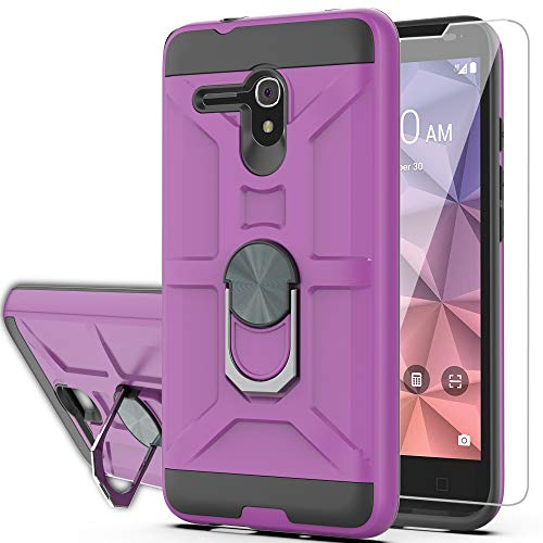 Alcatel OneTouch Fierce XL/Pop 3/Flint/Pixi Glory 4G LTE Case with HD Screen Protector YmhxcY 360 Degree Rotating Ring Kickstand Dual Layers of Shockproof Phone Case 5054-ZS Purple