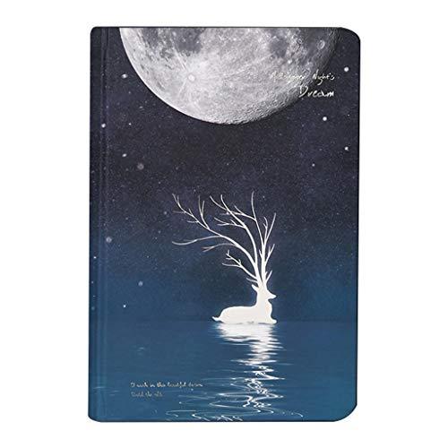 XINGYUE Diario de viaje cuadernos cuadernos, lindo cuaderno luminoso diario de dibujo de papel cuaderno de bocetos Noctilucente Escuela Oficina Suministros Papelería