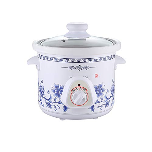 CATLXC Ménage Électrique Mini Mijoteuse/Amovible Couvercle en Verre Minuterie Mécanique/Mijoter Soupe Porridge Pot/Machine À La Cuisson des Aliments en Céramique,1.5l