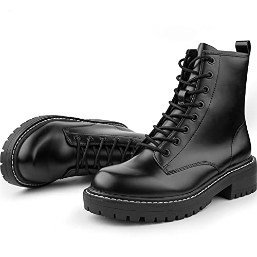 ICHIGO Women's Fashion Ankle Booties Causal 8-Eye Side Zipper Lace-up Combat Boots(Black 6)