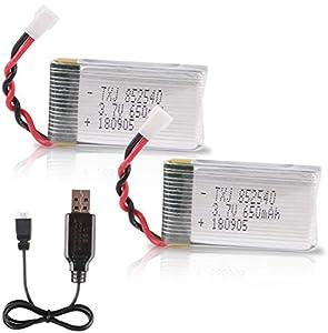 Crazepony-UK 2pcs 1s Lipo 3.7V 650mAh Bateria with USB Charger Lipo Battery for RC Syma X5 Serial UAV Drone