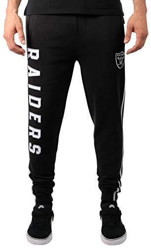 Ultra Game Men's NFL Jogger Pants Active Basic Fleece Sweatpants, Oakland Raiders, Team Color Stripe, Large