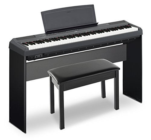 Yamaha P115 Holiday Home Bundle with Furniture Stand, Bench and Sustain Pedal, Black