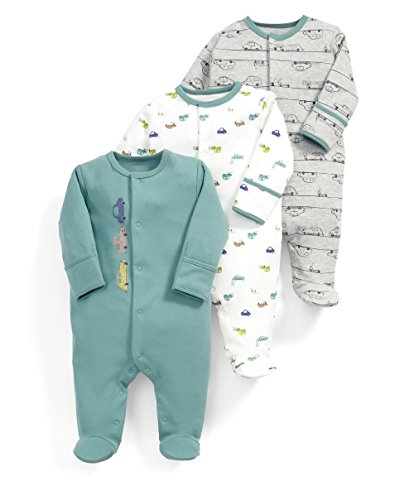 Mamas & Papas Baby-Jungen Strampler Car All-in-Ones, 3er Pack, Multicoloured (Multi), Neugeboren