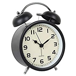 Time Vanguard Retro Double Bell Alarm Clock Bedside Silent Non-Ticking (Black)