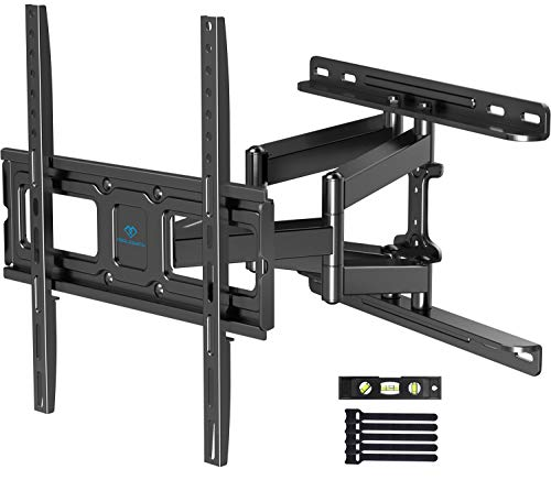 PERLESMITH TV Wall Mount Full Motion for Most 32-55 Inch Flat/Curved TVs with Swivels, Tilts & Extends, Dual Articulating Arms Wall Mount TV Bracket Supports TV up to 99 lbs, Max VESA 400x400