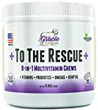 Gracie To The Rescue Multivitamin for Dogs chewable - 120 ct - Essential Dog Vitamins with Digestive Enzymes & Probiotics, Omega-3, Colostrum and Hemp Oil, Supports Vision, Joints, Immune System