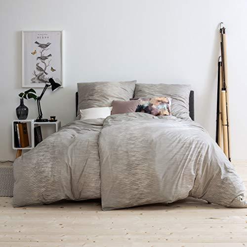 ESTELLA Mako Interlock Jersey Bettwäsche Kaleb Creme 1 Bettbezug 155 x 220 cm + 1 Kissenbezug 80 x 80 cm